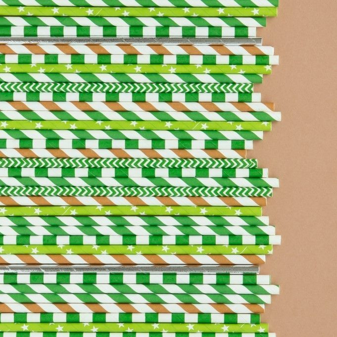 Green Rugby Striped Paper Straws- Camo Paper Straws- Striped Paper Straws