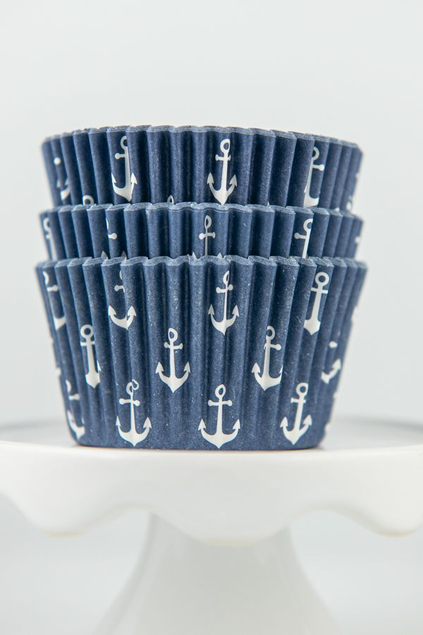 Anchor Cupcake Liners - Nautical Party Supplies - Anchor Baking Cups