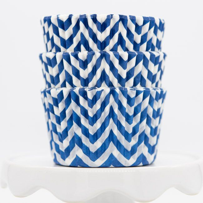 Chevron Blue Cupcake Liners | Blue Baking Cups - Chevron Cupcake Cups