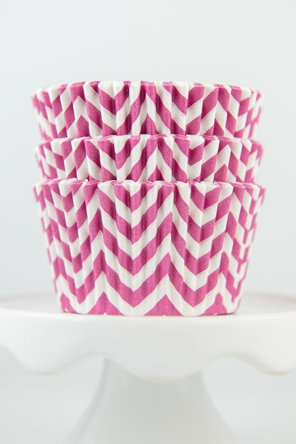 Chevron Pink Cupcake Liners - Pink Baking Cups - Chevron Cupcake Cups
