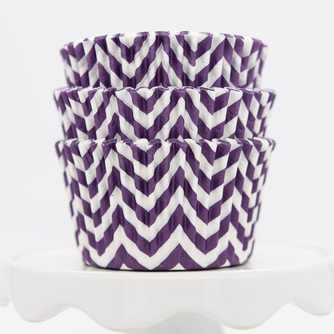 Chevron Purple Cupcake Liners | Purple Baking Cups - Chevron Cupcake Cups