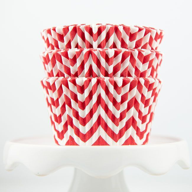 Chevron Red Cupcake Liners - Red Baking Cups - Chevron Cupcake Cups