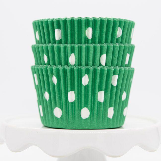 Dot Green Cupcake Liners   Green Dot Baking Cups - Polka Dot Cupcake Cups