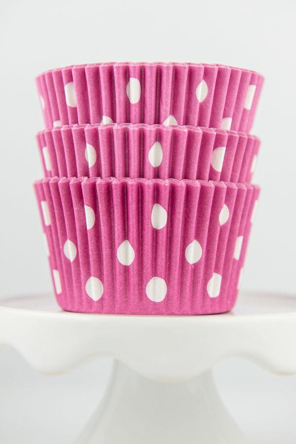 Polka Dot Pink Cupcake Liners - Pink Baking Cups - Polka Dot Cupcake Cups