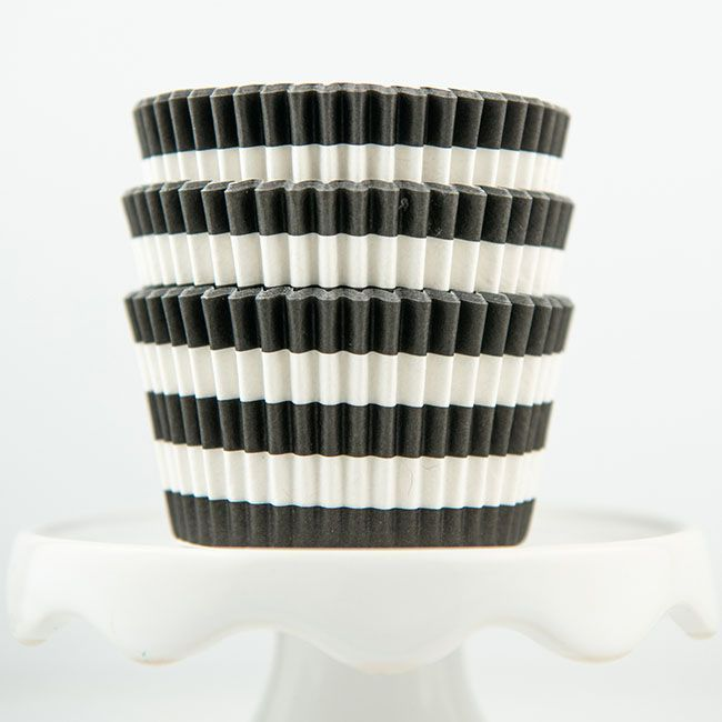 Rugby Striped Black Cupcake Liners - Striped Baking Cups - Striped Cupcake Cups