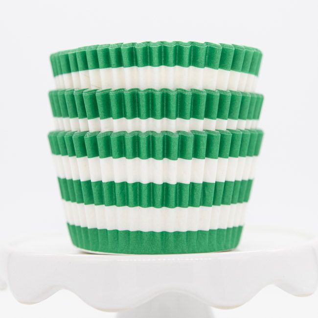 Rugby Striped Green Cupcake Liners | Green Stripe Baking Cups, Cupcake Cups