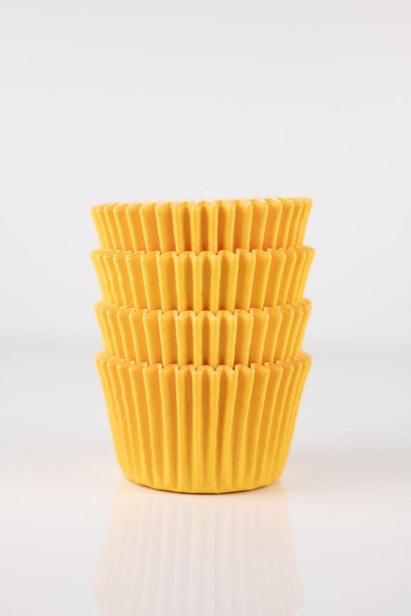 Yellow Mini Cupcake Liners | Yellow Midi Baking Cups, Greaseproof Wrappers Bulk