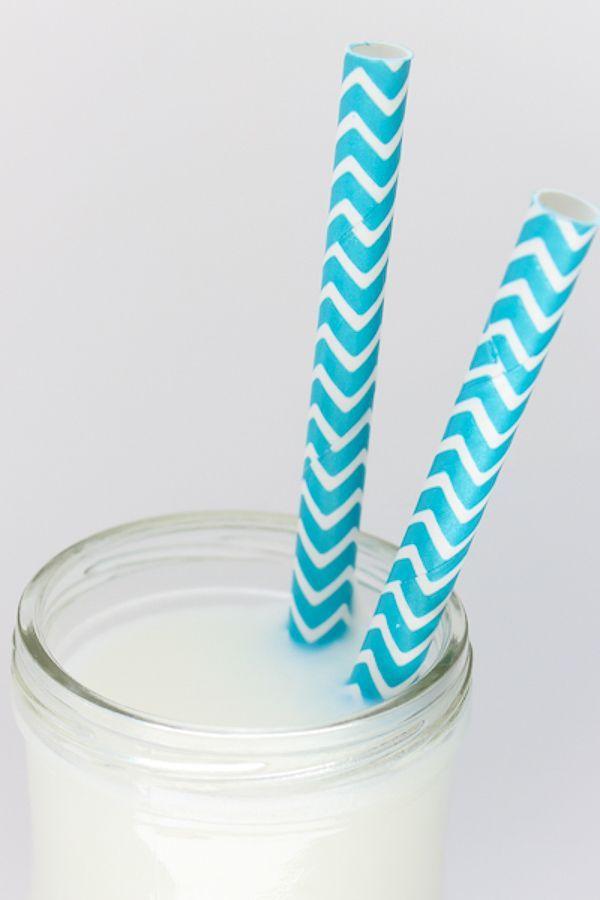 Aqua Blue Chevron Paper Straws - Aqua Blue Paper Straws