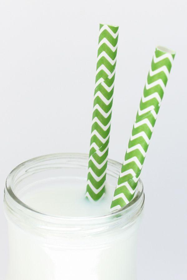 Green Chevron Paper Straws - Green Paper Straws