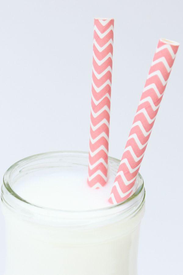 Light Pink Chevron Paper Straws - Chevron Light Pink Paper Straws