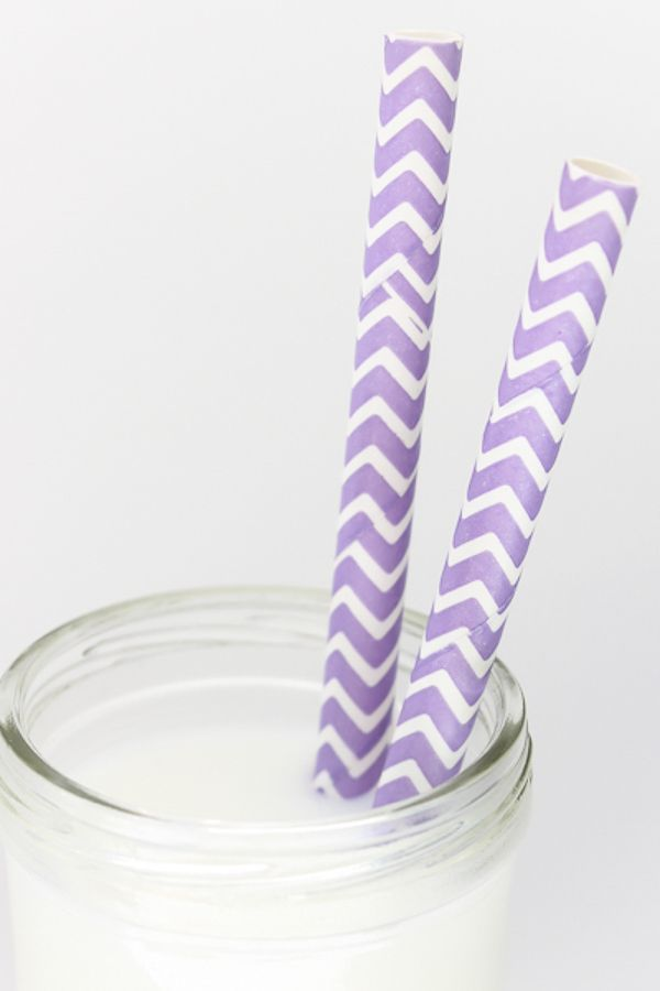 Light Purple Chevron Paper Straws - Chevron Light Purple Paper Straws