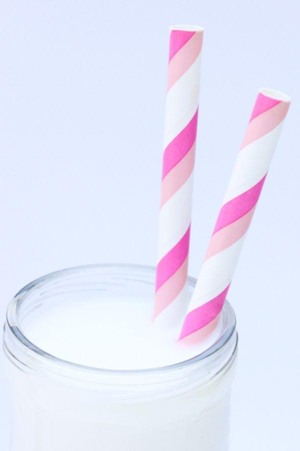 Pink & Light Pink Striped Paper Straws - Pink Paper Straws