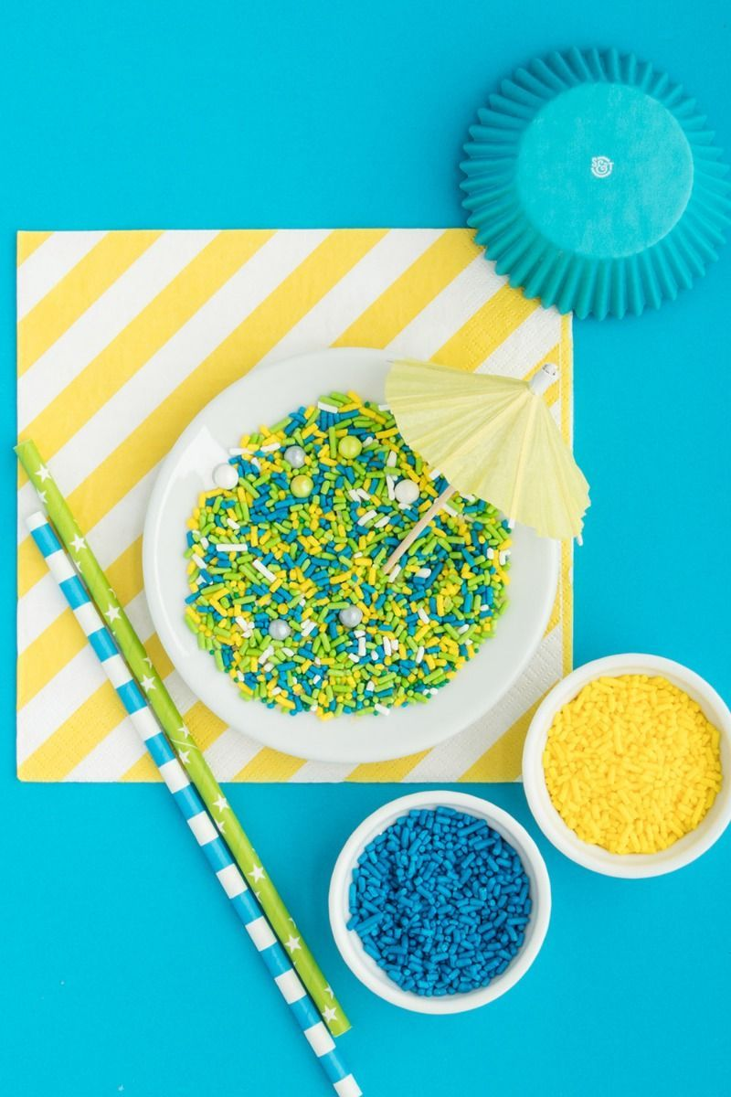 Pool Party Sprinkles Mix | Blue, Lime Green, and Yellow Sprinkle Medley, Edible Blend