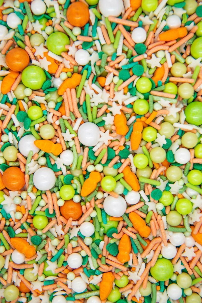 Green & Orange Easter Sprinkles Mix | 24 Carrot Sprinkle Medley, Edible Blend