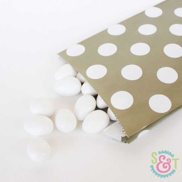 Gold Polka Dot Goodie Bags - Gold Goody Bags - Party Favor Bags