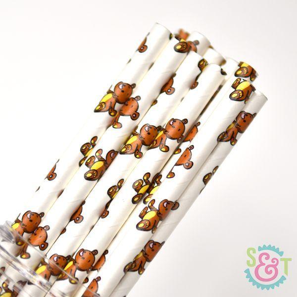 Teddy Bear Paper Straws - Animal Paper Straws