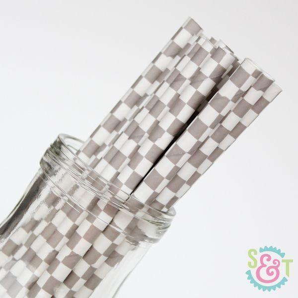 Gray Checkered Paper Straws - Gray Paper Straws