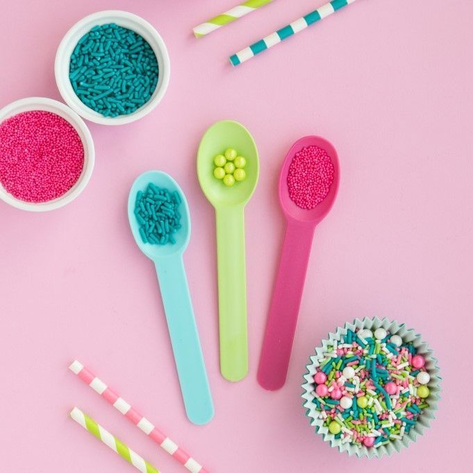 Light Blue, Lime Green, Pink Reusable Pastic Ice Cream Spoons