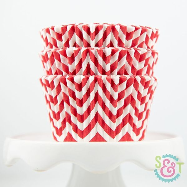 Chevron Cupcake Liners: Red