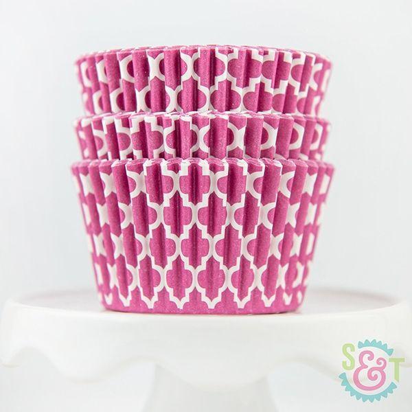 Quatrefoil Cupcake Liners: Pink