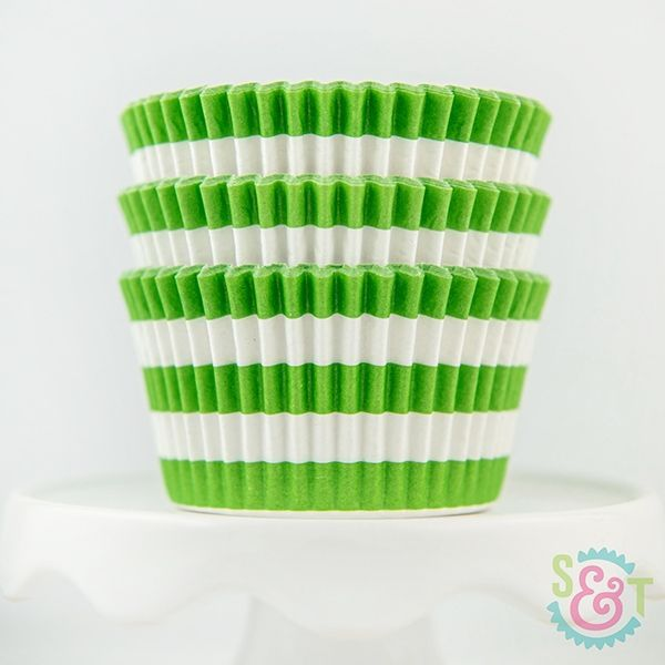 Rugby Stripe Cupcake Liners: Lime