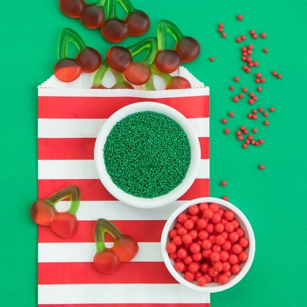 Cherry Party Ideas - Fruit Party Ideas - Green Nonpareils and Red Sugar Pearls