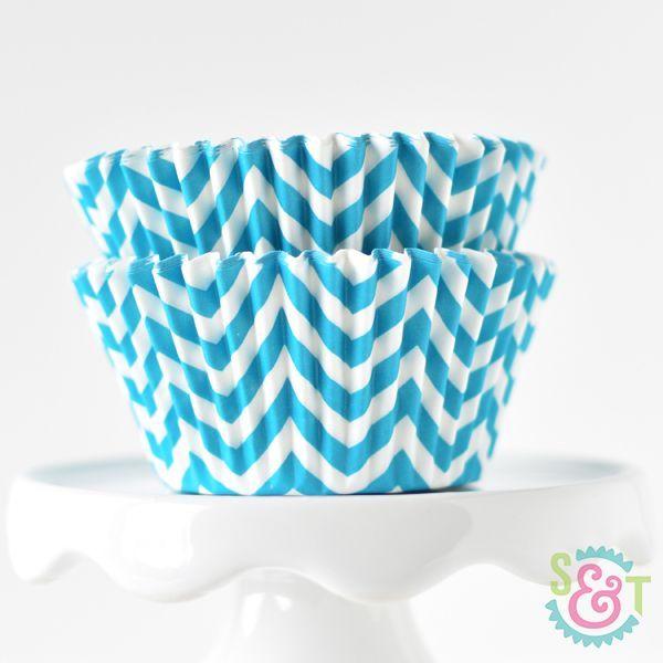 Chevron Cupcake Liners: Aqua