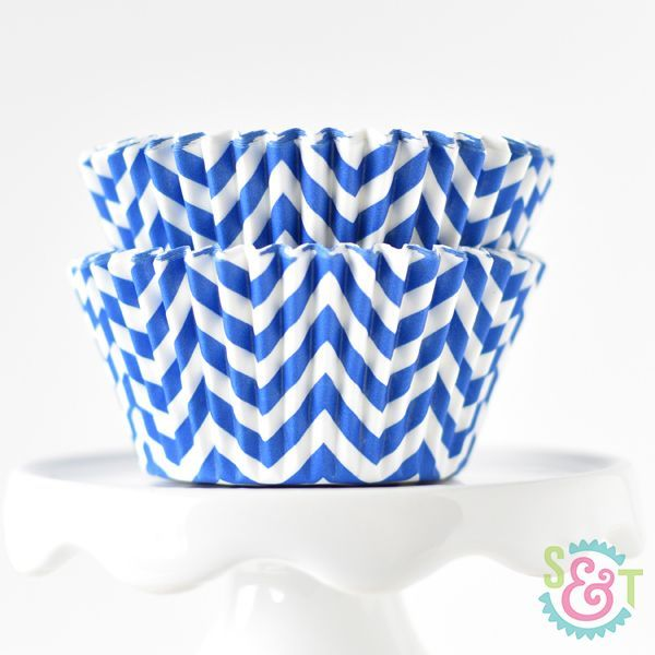 Chevron Cupcake Liners: Blue