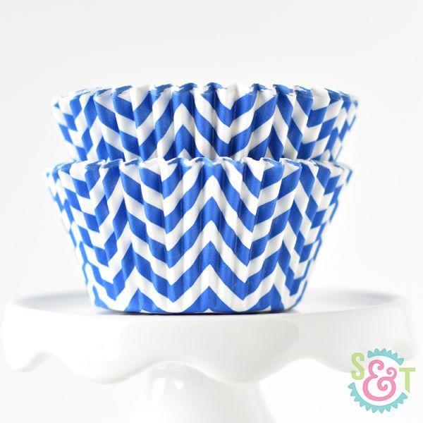 Chevron Blue Cupcake Liners - Blue Baking Cups - Chevron Cupcake Cups