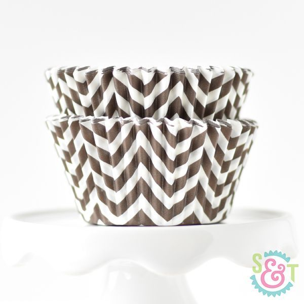 Chevron Cupcake Liners: Brown