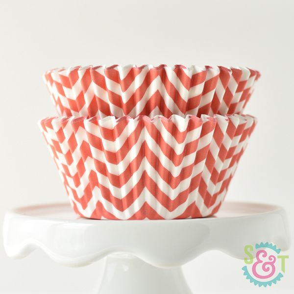 Chevron Cupcake Liners: Coral