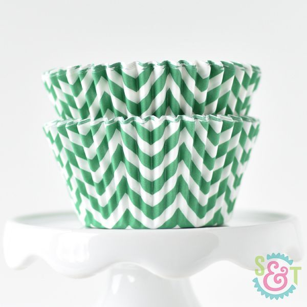 Chevron Cupcake Liners: Green