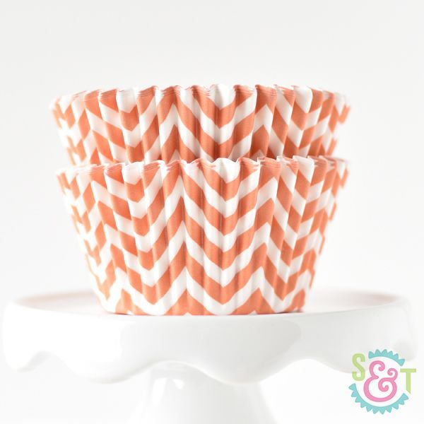Chevron Cupcake Liners: Orange