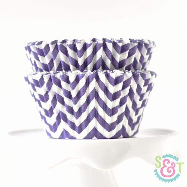 Chevron Cupcake Liners: Purple