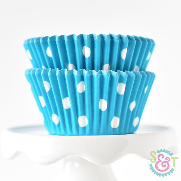 Polka Dot Aqua Blue Cupcake Liners - Aqua Blue Baking Cups - Polka Dot Cupcake Cups
