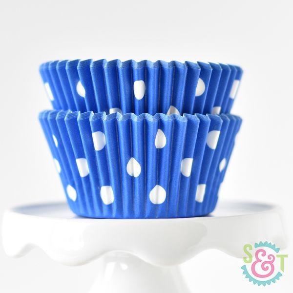 Polka Dot Blue Cupcake Liners - Blue Baking Cups - Polka Dot Cupcake Cups
