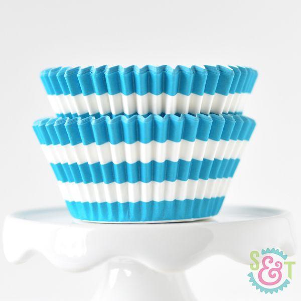 Rugby Stripe Cupcake Liners: Aqua
