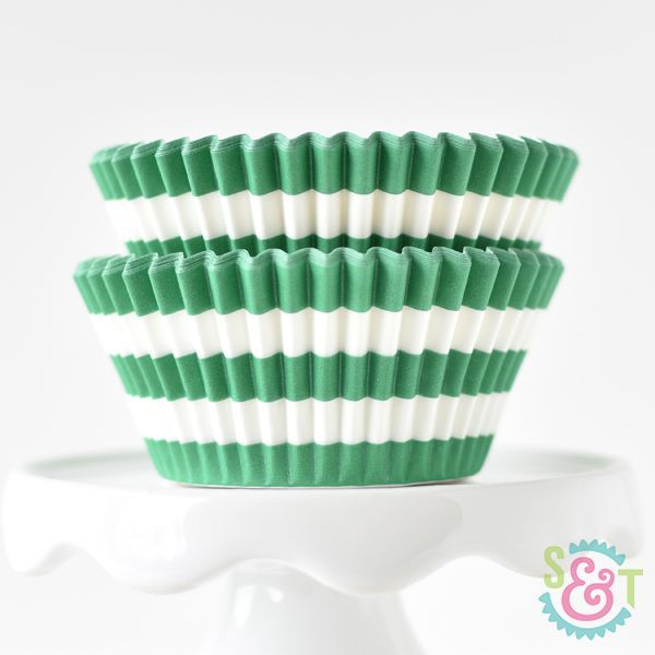 Rugby Stripe Cupcake Liners: Green