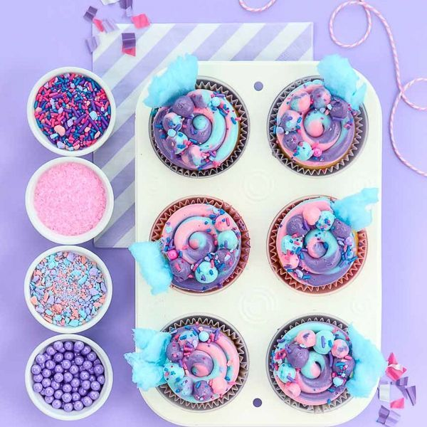 Cotton Candy Swirl Cupcakes