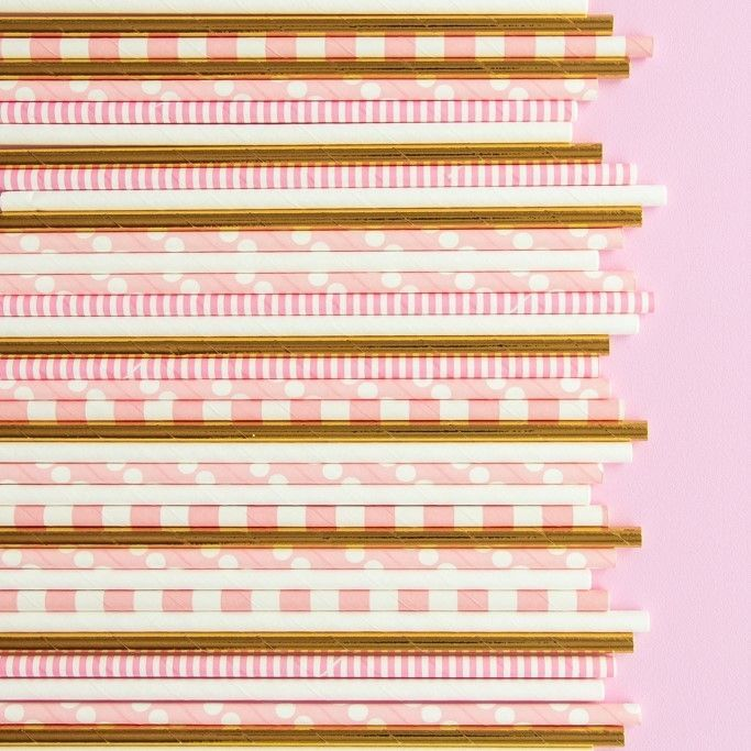 Solid Gold Foil Paper Straws - Solid Colored Paper Straws