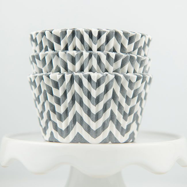 Chevron Gray Cupcake Liners - Gray Baking Cups - Chevron Cupcake Cups