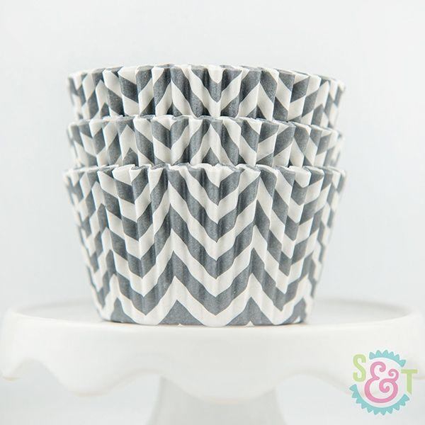 Chevron Cupcake Liners: Gray