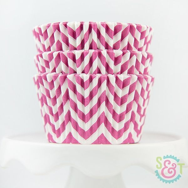 Chevron Cupcake Liners: Pink