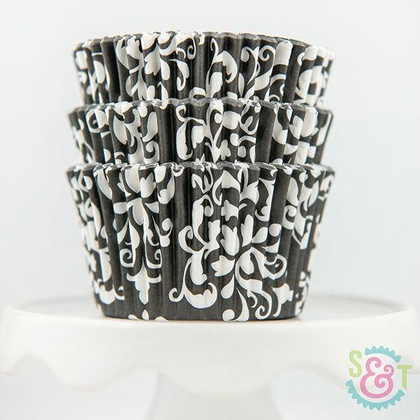 Damask Cupcake Liners: Black