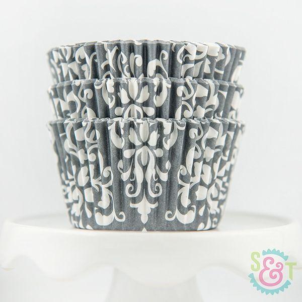 Damask Cupcake Liners: Gray