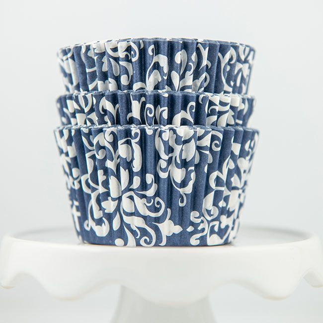 Damask Navy Blue Cupcake Liners - Navy Blue Baking Cups - Damask Cupcake Cups