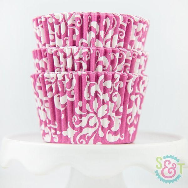 Damask Cupcake Liners: Pink