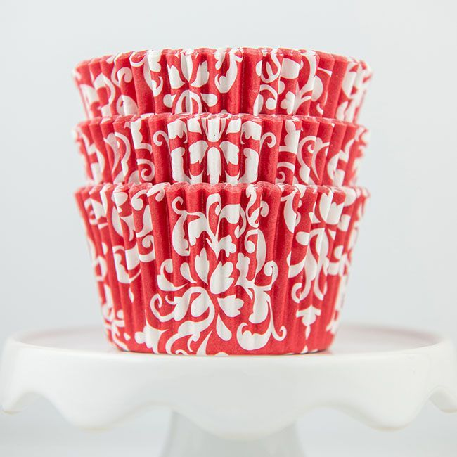 Damask Red Cupcake Liners - Red Baking Cups - Damask Cupcake Cups