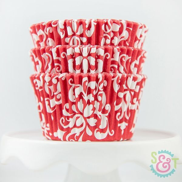 Damask Cupcake Liners: Red
