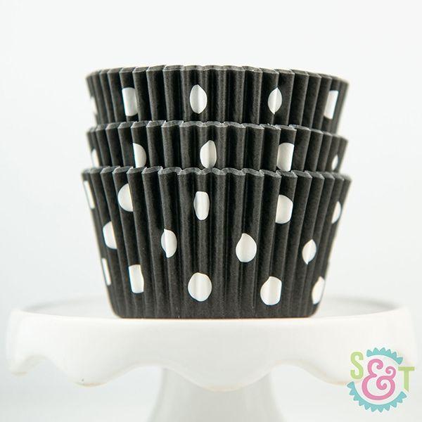 Dot Cupcake Liners: Black